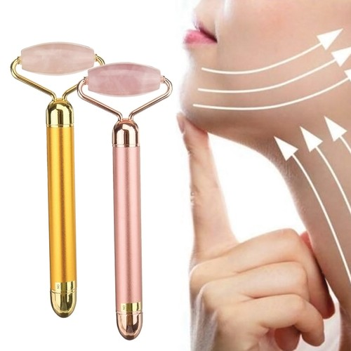 Vibrating jade roller massager and depuffer -  Pink Jade with Rose Gold, Red, Gold or Silver Handle
