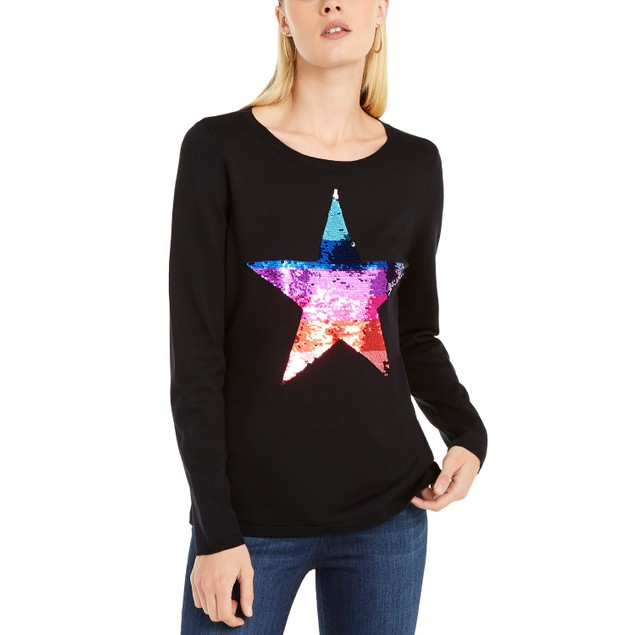 INC International Concepts Women's Sequin Star Sweater Black Size X-Large
