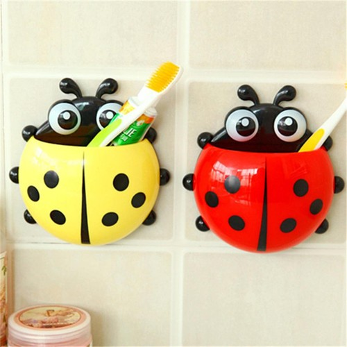 2 Pcs Ladybug Wall Suction Cup Mount Toothbrush Travel Organizer (Random Color)