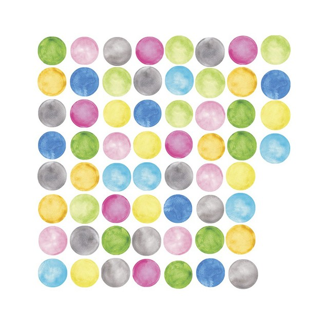 Roommates Baby Room Wall Decor Watercolor Dots Peel and Stick Wall Decals