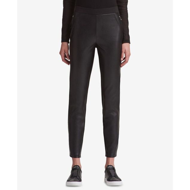 DKNY Women's Mixed-Media Skinny Pants Black Size Medium