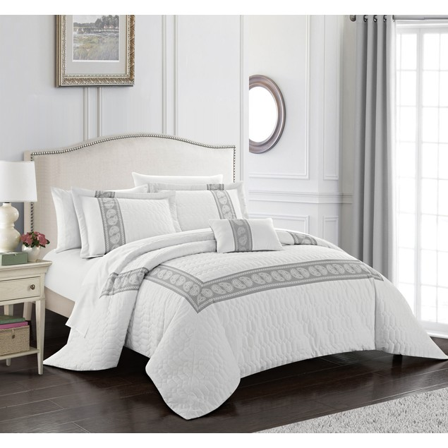 Keegan 8 or 6 Piece Comforter Set Hotel Collection Bed in a Bag