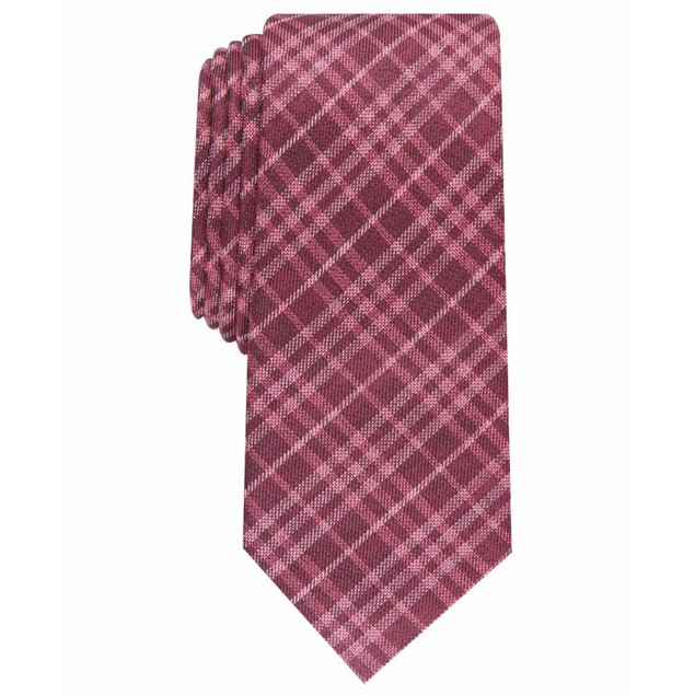 Bar III Men's Cooper Skinny Plaid Tie Red Size Regular