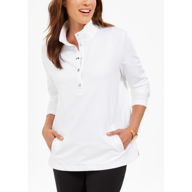 Karen Scott Women's Sport Mock-Neck Vented-Hem Top White Size 2 Extra Large