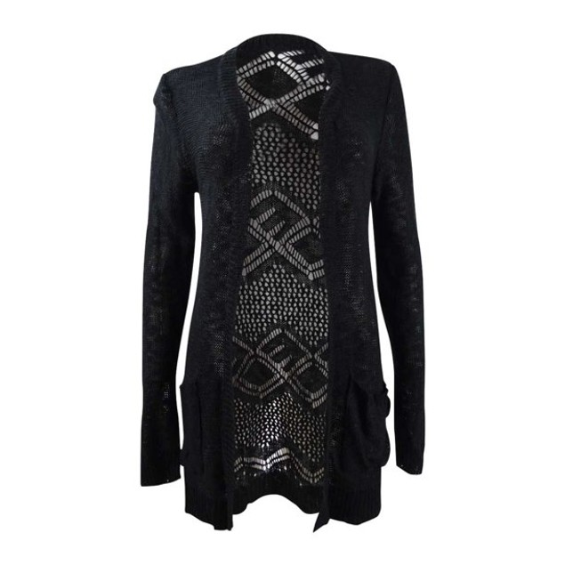 Hooked Up By Iot Juniors' Side-Tie Cardigan Black Size Large