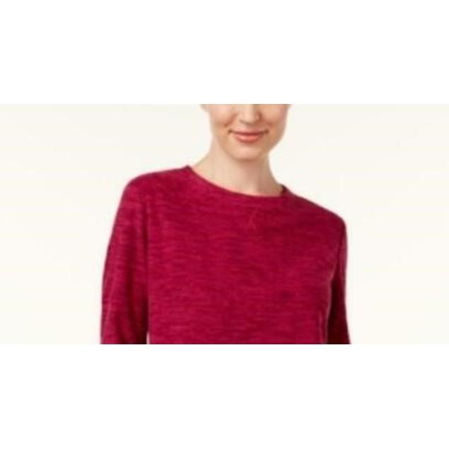 Karen Scott Women's Sport Space-Dye Microfleece Top Red Size Extra Small