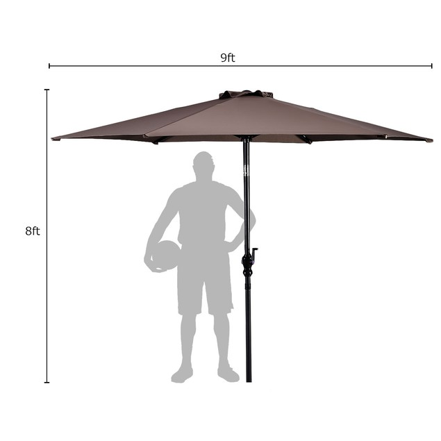 Costway 9ft Patio Umbrella Patio Market Steel Tilt w/ Crank Outdoor Yard Ga