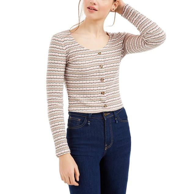 Hippie Rose Juniors' Women's Button Crop Pointelle Top Green Size Medium