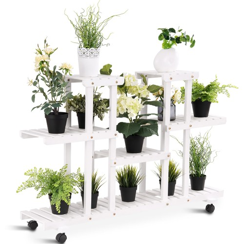 4-Tier Rolling Flower Rack Wood Plant Stand Casters 12 Pots Bonsai Display
