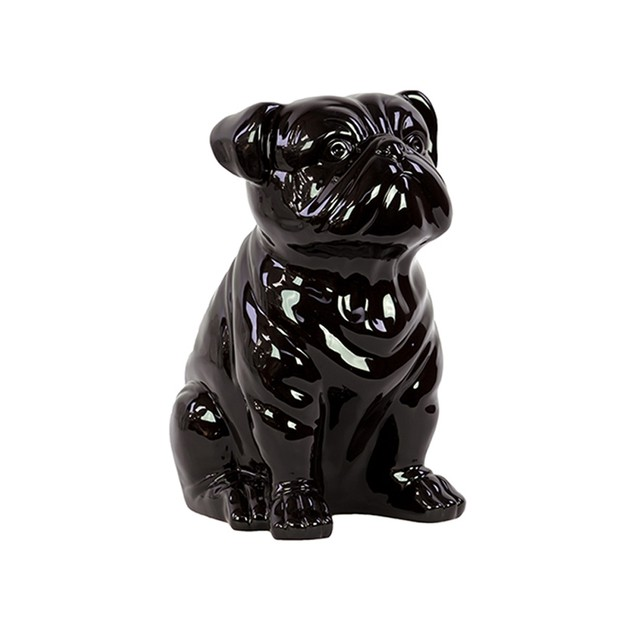 Urban Trends Home Decor Accessory Art Figurine Ceramic Sitting Dog Black