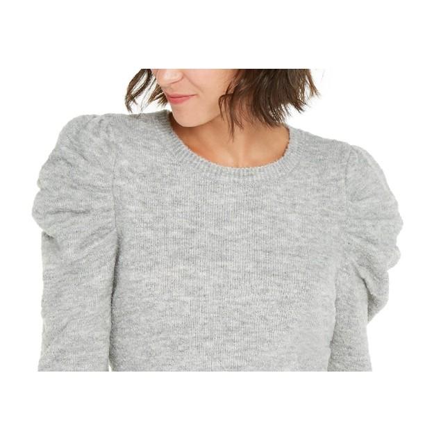 INC International Concepts Women's Puff-Sleeve Sweater Gray Size Medium