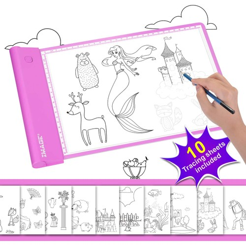 LIGHT-UP TRACING PAD PINK COLORING DRAWING ART GIFT TOY AGE 6+