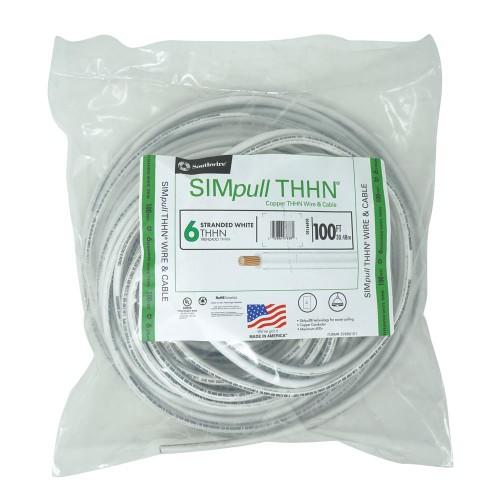 Southwire 100 Ft 6 Stranded CU SIMpull THHN Soft Drawn Copper Wire, White