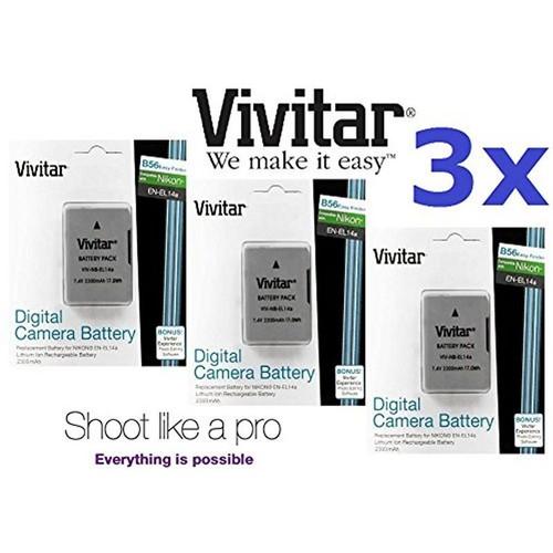 3 x 2300mAh EN-EL14a Li-Ion Battery for Nikon  D3500
