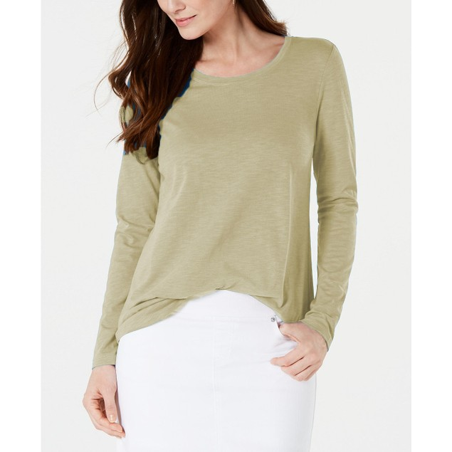 Style & Co Women's Long-Sleeve Crewneck Top Beige Size Extra Large