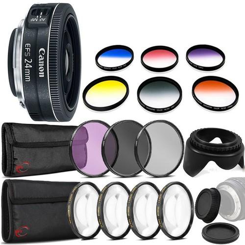 Canon EF-S 24mm f/2.8 STM Lens  + 52mm Filter Kit + Macro Kit + Color Filter Kit + Tulip Lens Hood + Rear & Front Cap