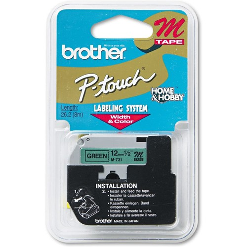Brothers M731 P-Touch Tape Cartridge for P-Touch Labelers, 1/2W
