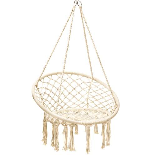 Costway Hanging Hammock Chair Macrame Swing Handwoven Cotton Backrest Garde