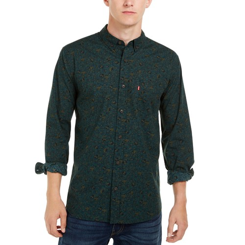 Levi's Men's Mini Floral Print Shirt Green Size Large