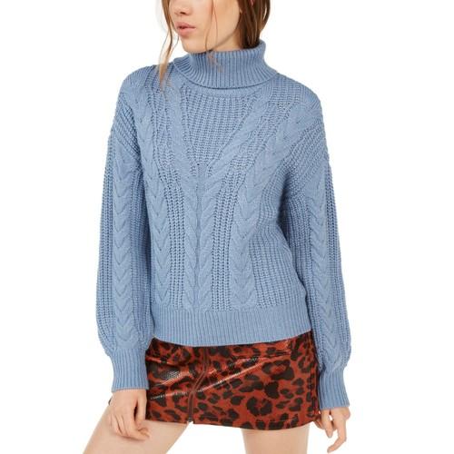 Crave Fame Women's  Juniors' Turtleneck Cable Knit Sweater Blue Size Large
