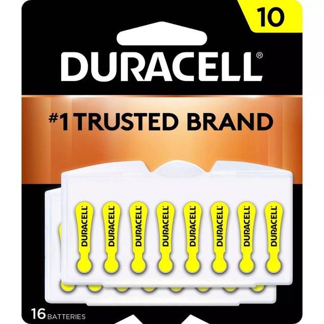 Duracell 1.4 V Size 10 Zinc Air Hearing Aid Batteries w/ Easy-Fit Tab, 16
