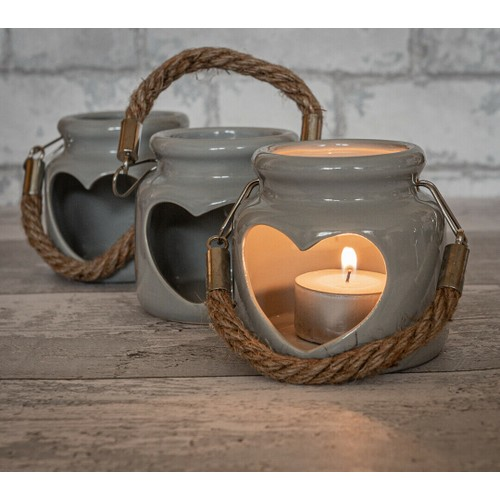 Heart Ceramic Candle Holder Grey 8Cm By Lesser and Pavey