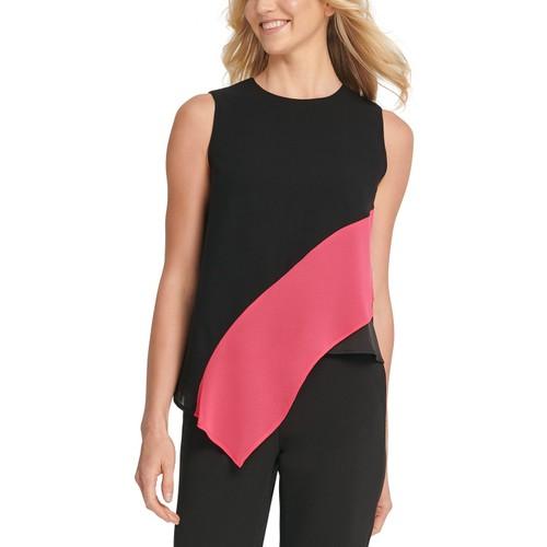 DKNY Women's Asymmetrical Colorblocked Top Black Size Small