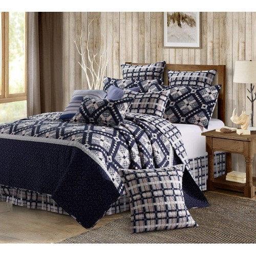 Spura Home Nine Patch Star Midnight King Size Printed Quilt Set