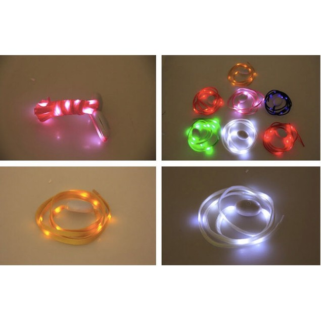 [2 pairs] LED Nylon Shoelaces Strip cordones Light Waterproof