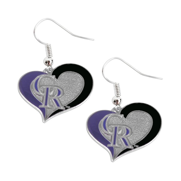 MLB Colorado Rockies Swirl Heart Earring Set Charm Gift