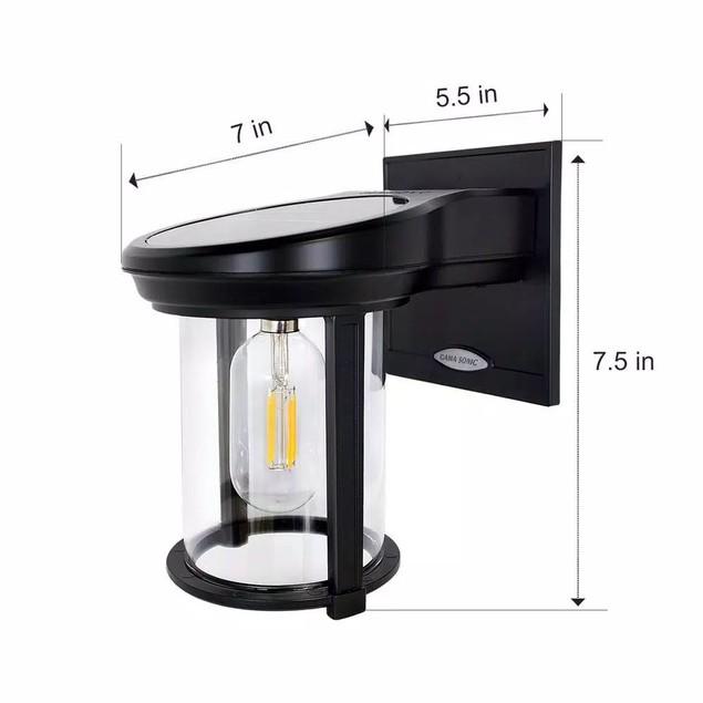 Gama Sonic Solar Coach Lantern 1-Light Black Solar Outdoor Wall Lantern