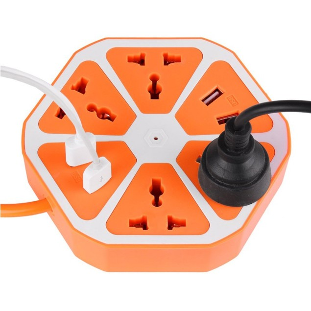 Travel Power Strip with 4-Outlets, 4-USB Ports & 5' Extension Cord