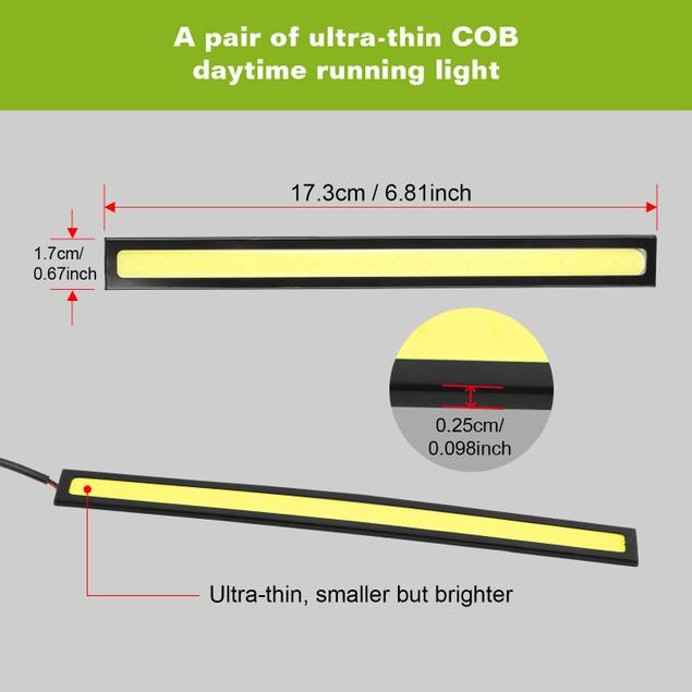 2Pcs LED Daytime Running Lights Car LED COB DRL Fog Lights