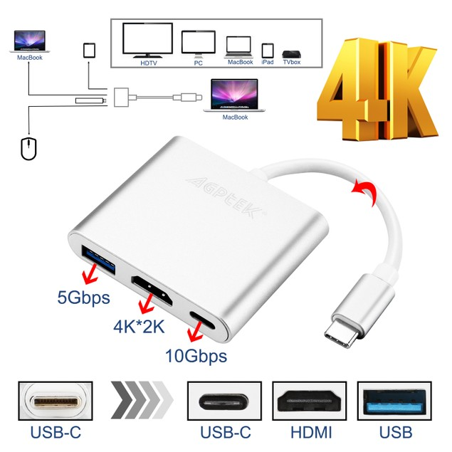 New Type C USB 3.1 to USB-C For Macbook Pro 4K HDMI USB 3.0 Adapter