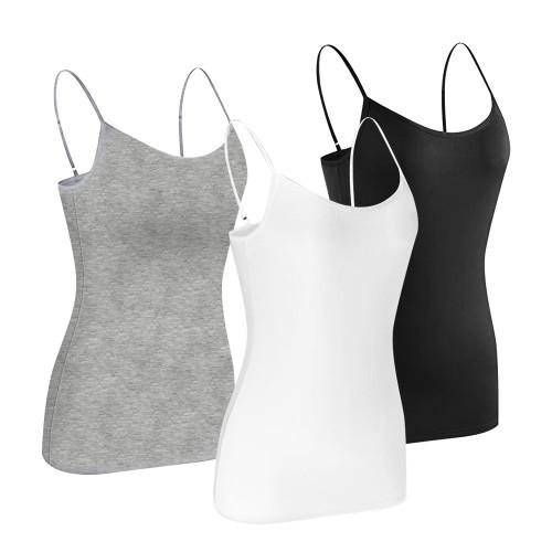 Women Basic Sleeveless Camisole Adjustable Spaghetti Strap Comfy Tank Tops