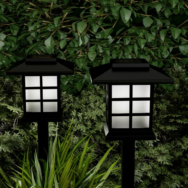 Solar Pathway  Lights- 15 in. Water Resistant Outdoor Stake Light Set of 6