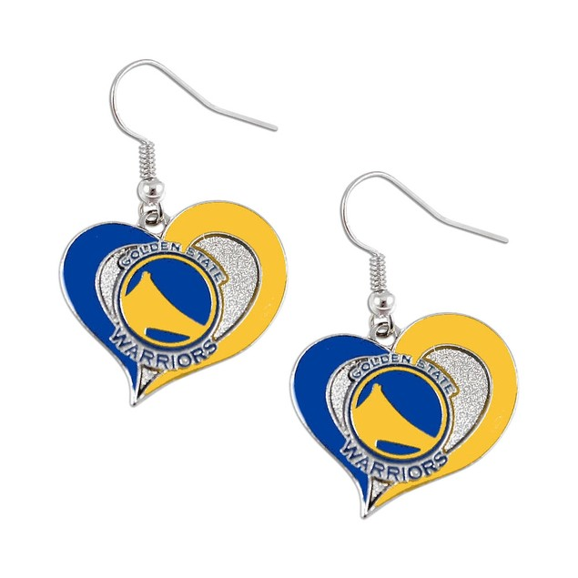 Golden State Warriors Swirl Heart Dangle Earring Set NBA Charm Gift