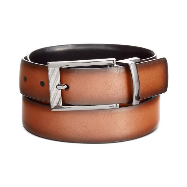 "Alfani Men's Leather Reversible Dress Belt"" Brown Size 34"