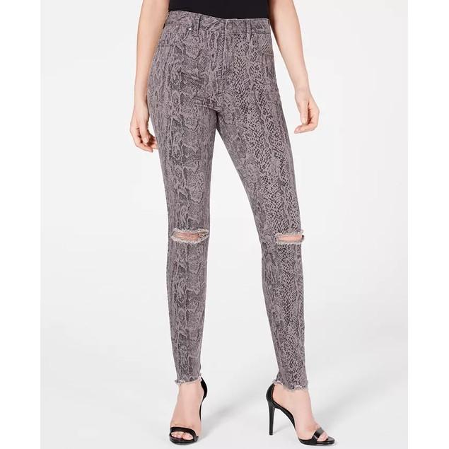 Rewash Junior's Stevie Ripped Printed Skinny Jeans Gray Size 15