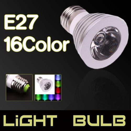 E27 3W 16-color Remote Control LED Spotlight