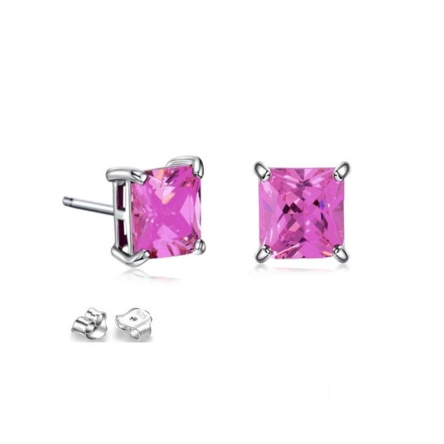 Sterling Silver 8mm Hot Pink Cubic Zircon Square Stud Earrings