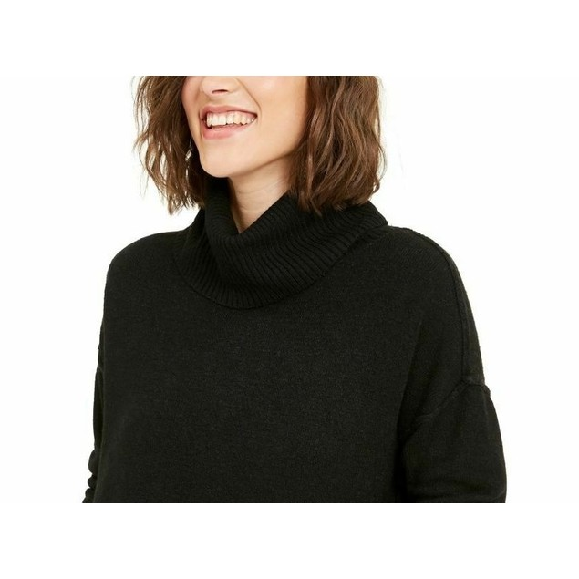 Bar III Women's Turtleneck High-Low Sweater Black Size Small