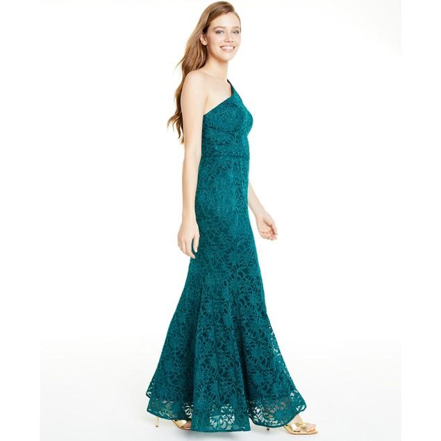 BCX Juniors' Women's One-Shoulder Glitter Lace Gown  Green Size 11