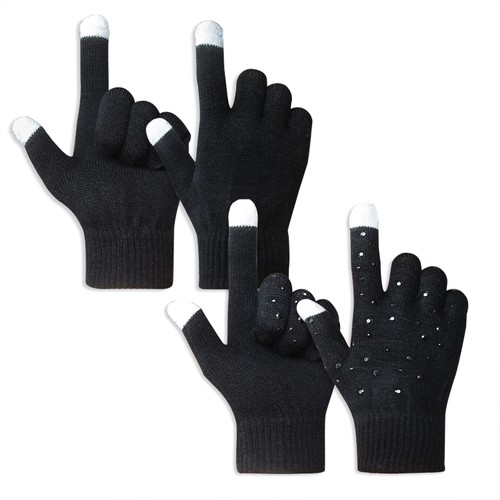 2-Pairs EvridWear Unisex touchscreen winter warm knitted magic gloves