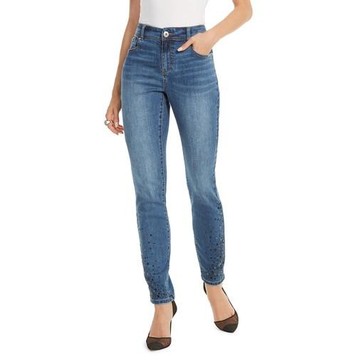 Inc Women's Rhinestone Skinny Ankle Jeans Blue Size 4