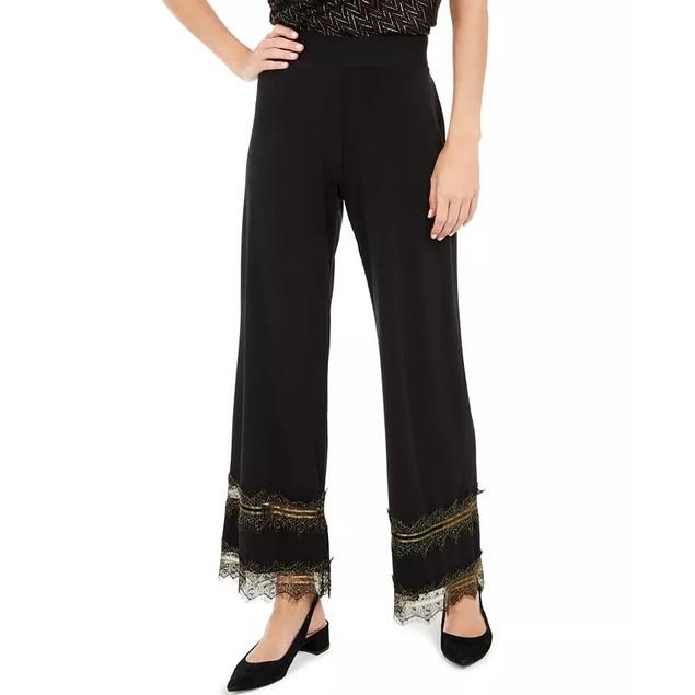 Alfani Women's Lace-Trim Palazzo Pants Black Size Medium