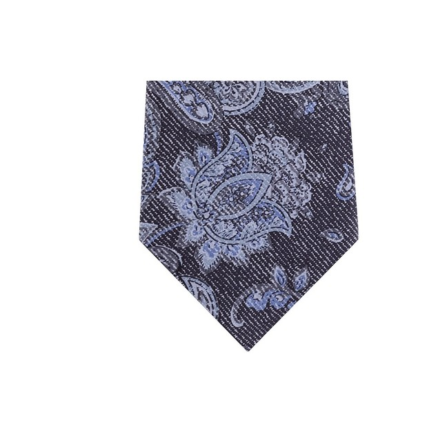 Michael Kors Men's Fine Line Paisley Tie Charcoal Size Regular