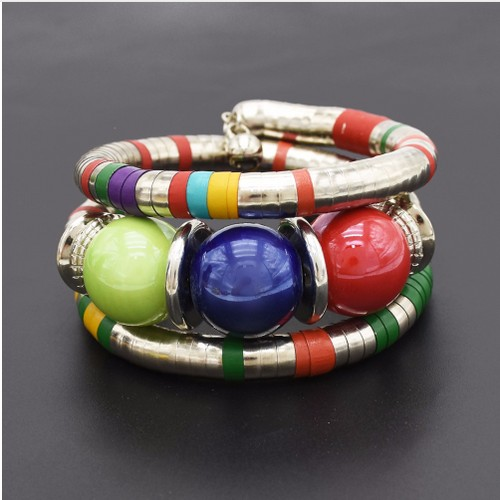 Resin Beads Statement Bangles & Bracelets for Women