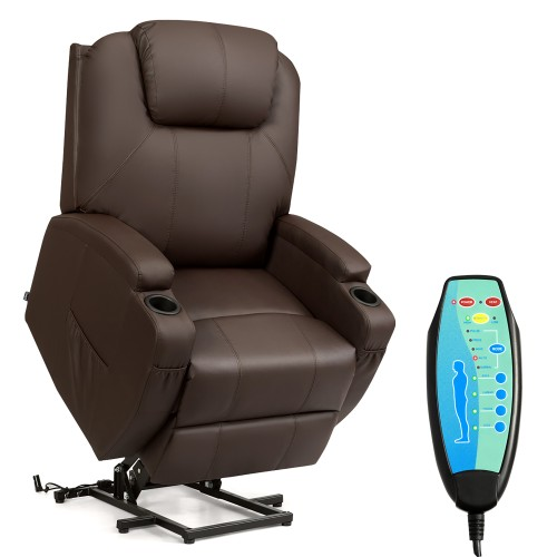 Costway Electric Lift Power Chair Recliner Heated Vibration Massage Sofa W/