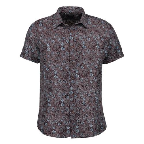 Rosso Milano Modern Fit Short Sleeve Dark Blue Paisley Dress Shirt